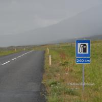 250km of gravel road through the lava fields to the next filling station. I took the long way around the isle.